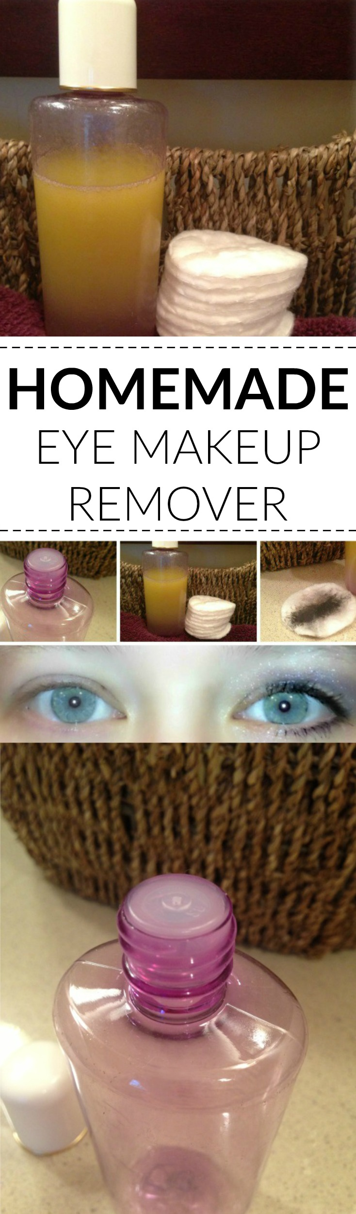 Homemade eye makeup remover recipe. This DIY recipe saves so much money!