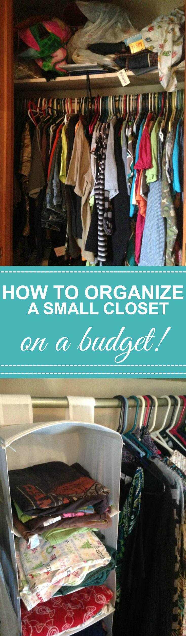 Closet organization tips on a budget, with organization storage solutions.