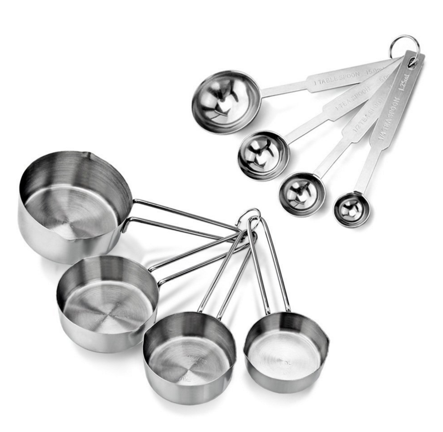 stainless steel measuring cups and stainless steel measuring spoons