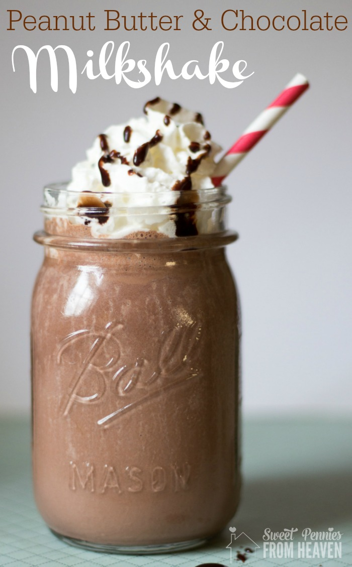 Peanut Butter and Chocolate Milkshake (including dairy free alternatives)
