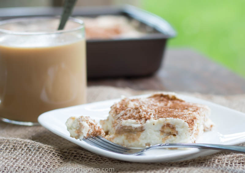 Easy chai tiramisu recipe, with no eggs. You can use ladyfingers or vanilla wafers!