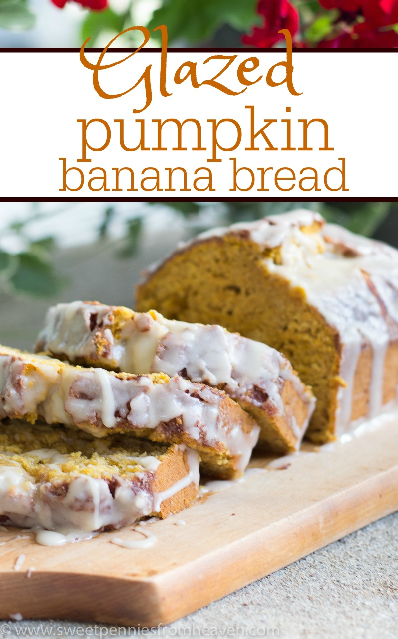 glazed pumpkin banana bread