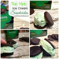 Thin Mints Ice Cream Sandwiches! These treats are SO easy to make and they're SO addicting! www.sweetpenniesfromheaven.com